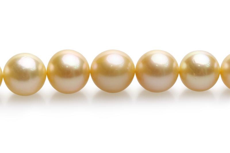 Halskette mit goldfarbenen, 10-13.5mm großen Südseeperlen in AAA-Qualität , 18-inch