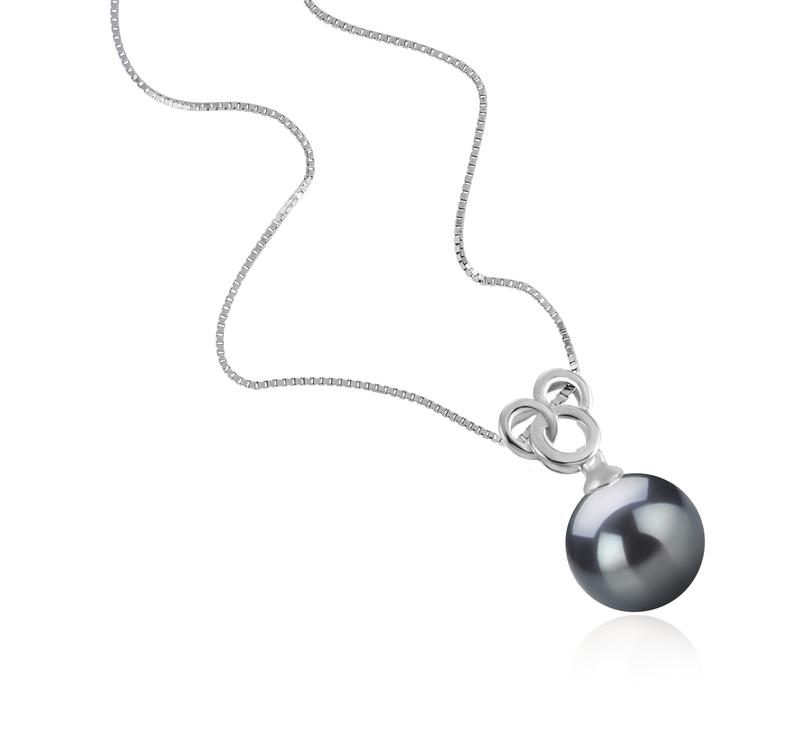 Anhänger mit schwarzen, 9-10mm großen Tihitianischen Perlen in AAA-Qualität , Adelina