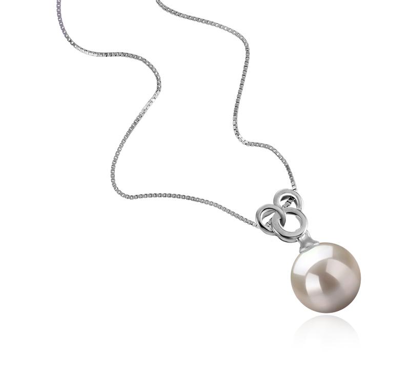 9-10mm AAAA-Qualität Süßwasser Perlenanhänger in Adelina Weiß