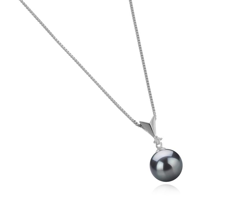 Anhänger mit schwarzen, 9-10mm großen Tihitianischen Perlen in AAA-Qualität , Ailani
