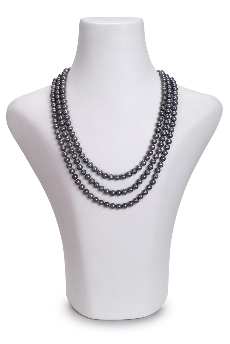 Halskette mit schwarzen, 6-7mm großen Süßwasserperlen in AA-Qualität , Aline