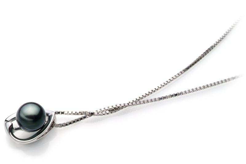 Anhänger mit schwarzen, 6-7mm großen Janischen Akoya Perlen in AA-Qualität , Amanda