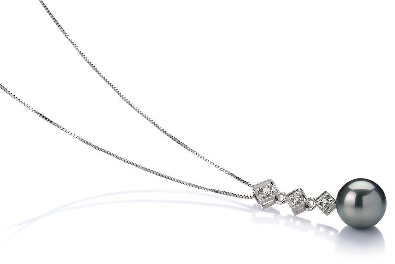 Anhänger mit schwarzen, 8-9mm großen Tihitianischen Perlen in AAA-Qualität , Analie