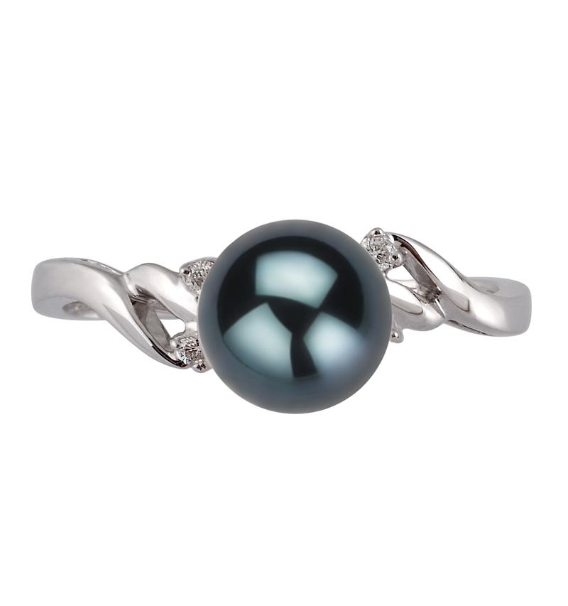 Ring mit schwarzen, 6-7mm großen Janischen Akoya Perlen in AAA-Qualität , Andrea