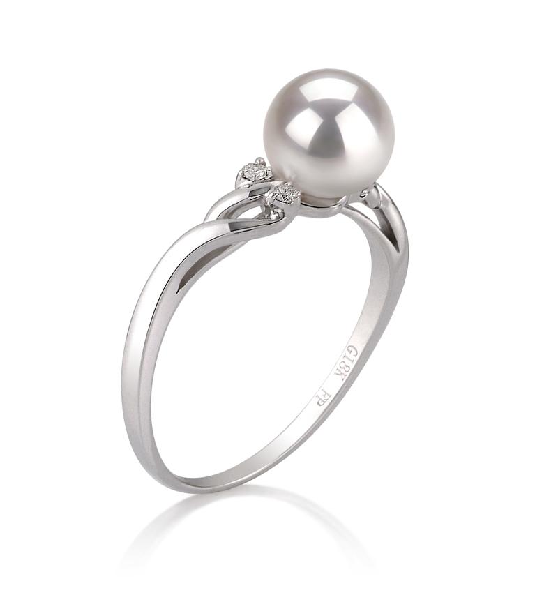 PearlsOnly - Ring mit weißen, 6-7mm großen Janischen Akoya Perlen in AAA-Qualität , Andrea