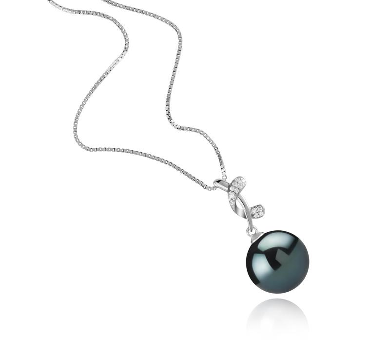 Anhänger mit schwarzen, 11-12mm großen Tihitianischen Perlen in AAA-Qualität , Angie