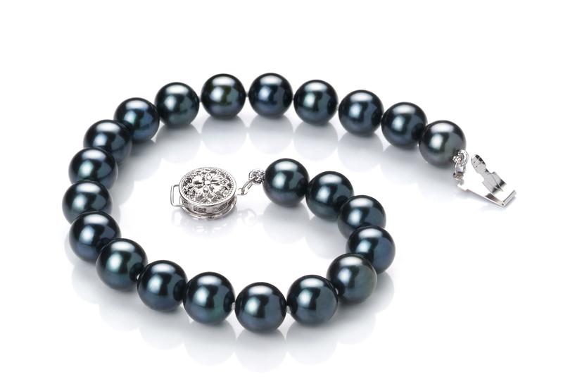 Armreifen mit schwarzen, 7.5-8mm großen Janischen Akoya Perlen in AA-Qualität , Anke