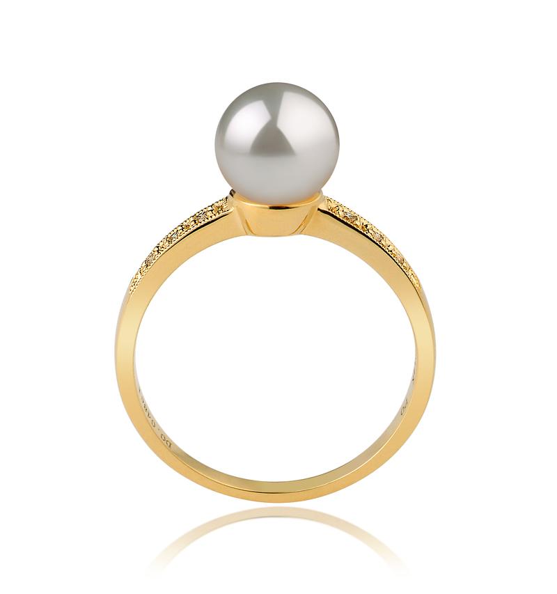 Ring mit weißen, 7.5-8mm großen Janischen Akoya Perlen in AAA-Qualität , Anne