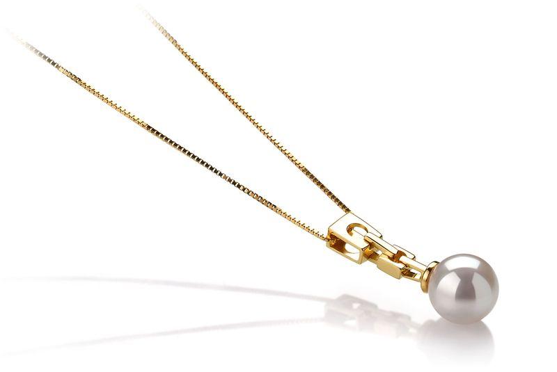 Anhänger mit weißen, 6-7mm großen Janischen Akoya Perlen in AA-Qualität , Annika