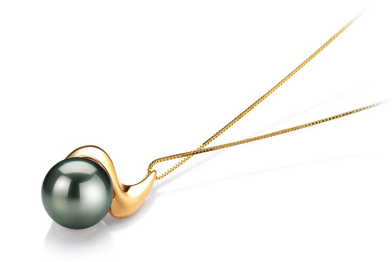 Anhänger mit schwarzen, 10-10.5mm großen Tihitianischen Perlen in AAA-Qualität , Annina