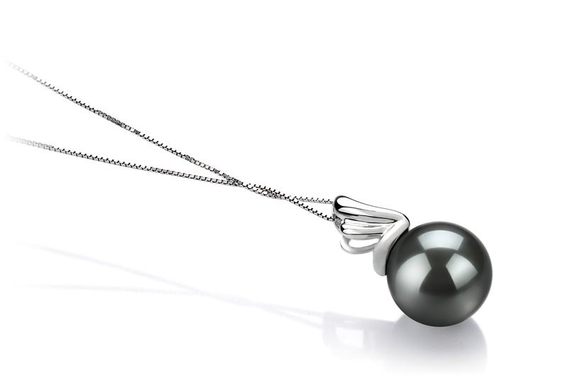 Anhänger mit schwarzen, 10-10.5mm großen Tihitianischen Perlen in AAA-Qualität , Antonett