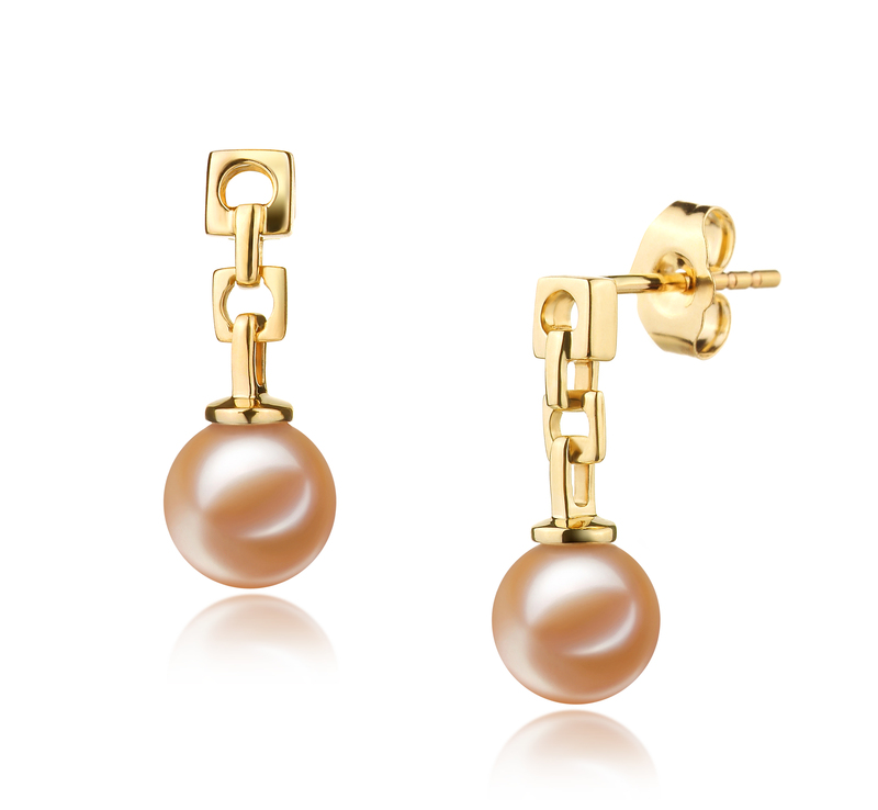 PearlsOnly - Paar Ohrringe mit rosafarbenen, 6-7mm großen Süßwasserperlen in AAAA-Qualität , Anya