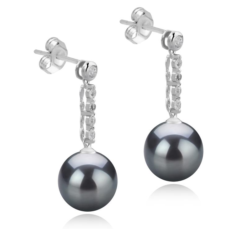 Paar Ohrringe mit schwarzen, 9-10mm großen Tihitianischen Perlen in AAA-Qualität , Ariel