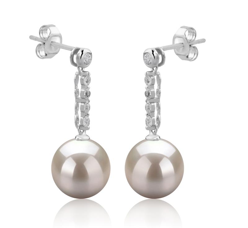 Paar Ohrringe mit weißen, 9-10mm großen Süßwasserperlen in AAAA-Qualität , Ariel