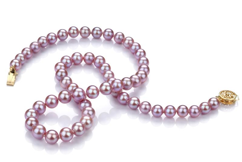 Halskette mit lavendelfarbenen, 6-7mm großen Süßwasserperlen in AAA-Qualität , Arjana