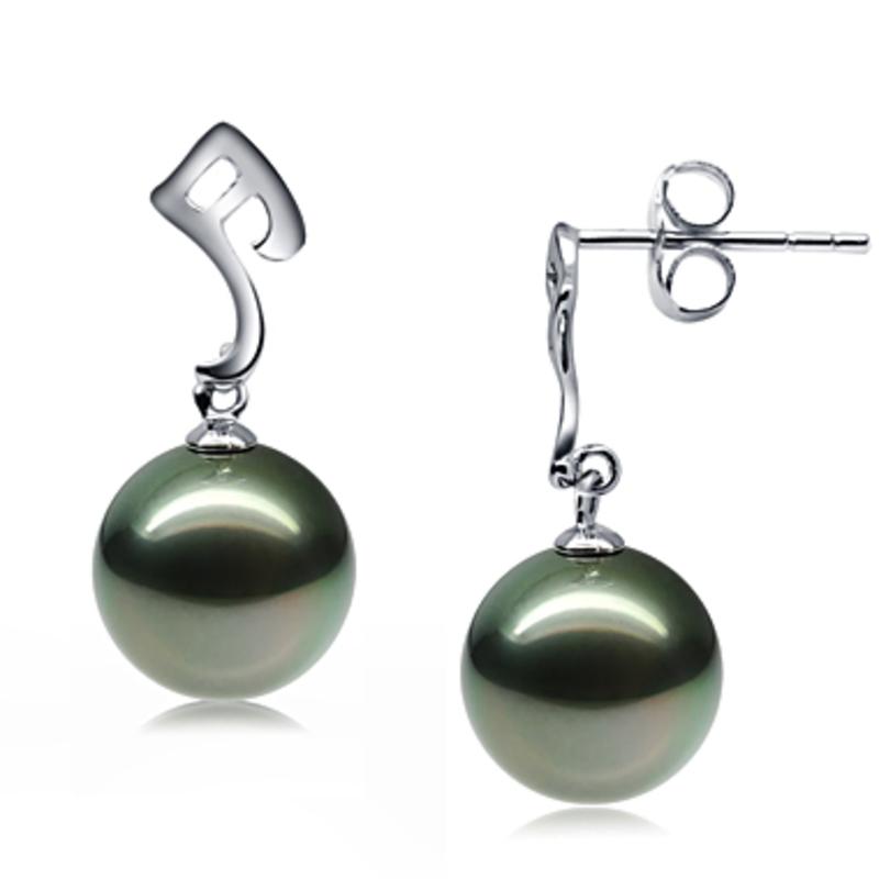 Paar Ohrringe mit schwarzen, 9-10mm großen Tihitianischen Perlen in AAA-Qualität , Assina Abstract