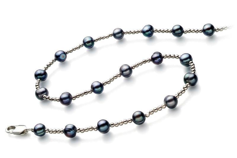 Halskette mit schwarzen, 6-7mm großen Süßwasserperlen in A-Qualität , Aurelia