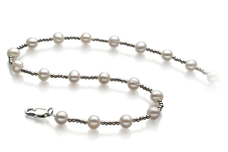 Halskette mit weißen, 6-7mm großen Süßwasserperlen in A-Qualität , Aurelia