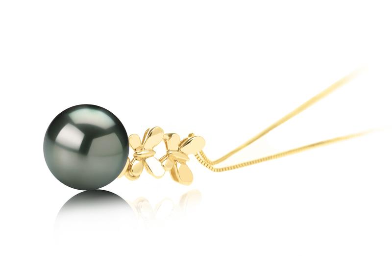 Anhänger mit schwarzen, 10-10.5mm großen Tihitianischen Perlen in AAA-Qualität , Barbara