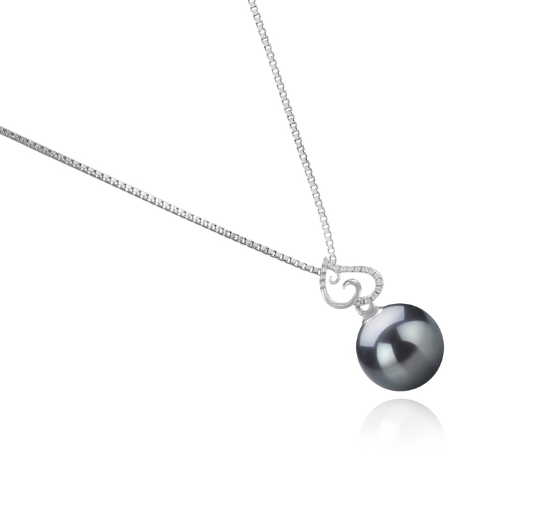 Anhänger mit schwarzen, 10-11mm großen Tihitianischen Perlen in AAA-Qualität , Belinda