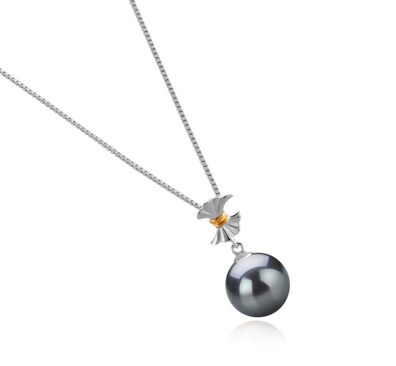 Anhänger mit schwarzen, 9-10mm großen Tihitianischen Perlen in AAA-Qualität , Belva