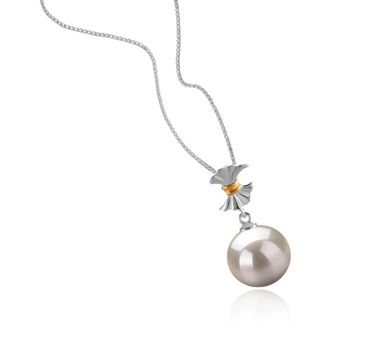 9-10mm AAAA-Qualität Süßwasser Perlenanhänger in Belva Weiß