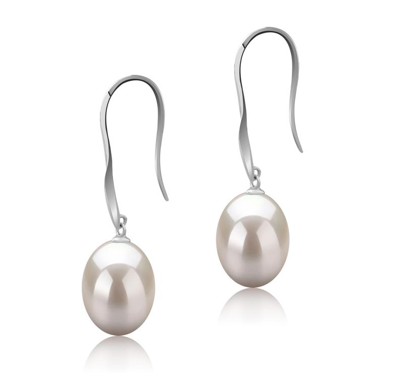 Paar Ohrringe mit weißen, 9-10mm großen Süßwasserperlen in AAA-Qualität , Bernice