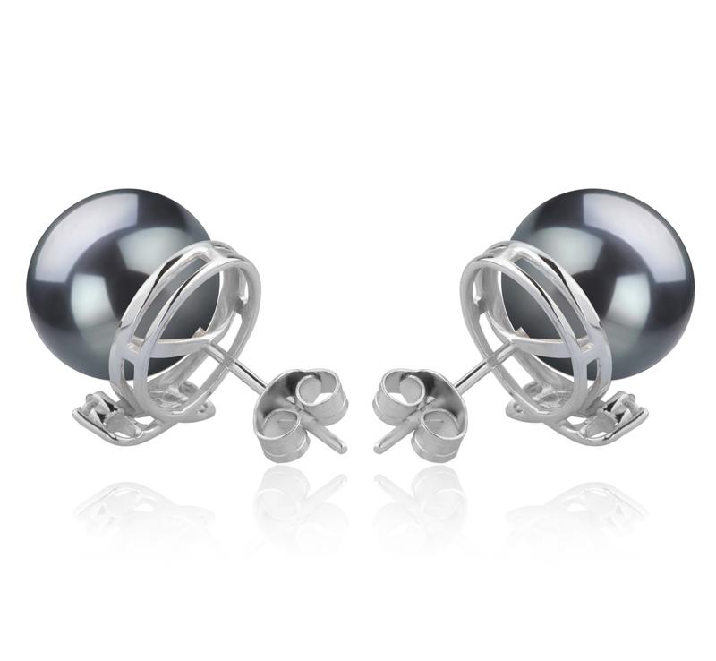 10-11mm AAA-Qualität Tahitisch Paar Ohrringe in Berry Schwarz