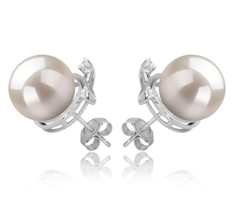 10-11mm AAAA-Qualität Süßwasser Paar Ohrringe in Berry Weiß