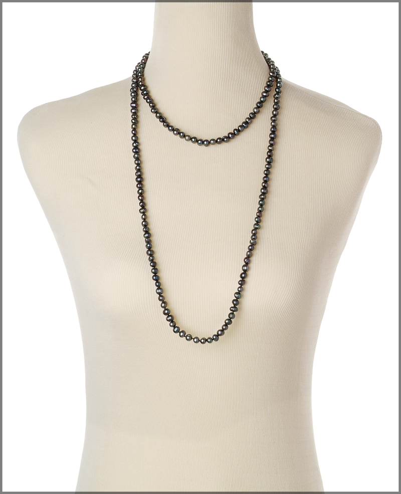Halskette mit schwarzen, 6-7mm großen Süßwasserperlen in A-Qualität , Betty