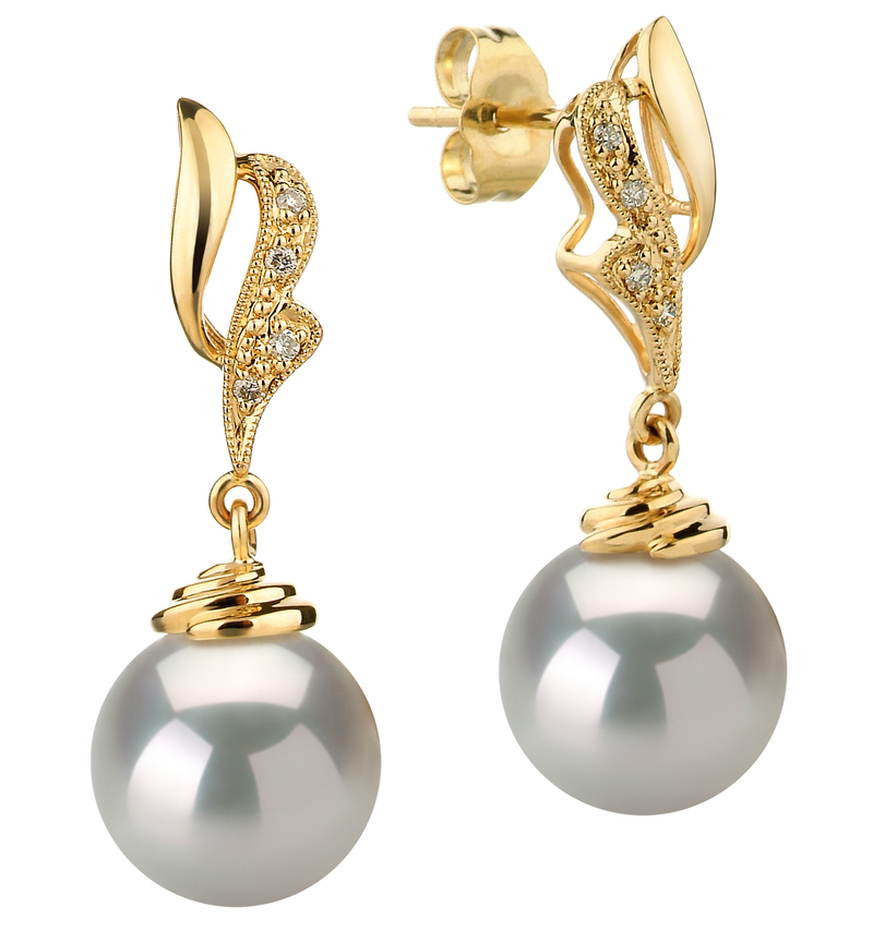 Paar Ohrringe mit weißen, 10-11mm großen Südseeperlen in AAA-Qualität , Bianka