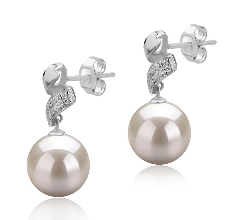 Paar Ohrringe mit weißen, 9-10mm großen Süßwasserperlen in AAAA-Qualität , Blair