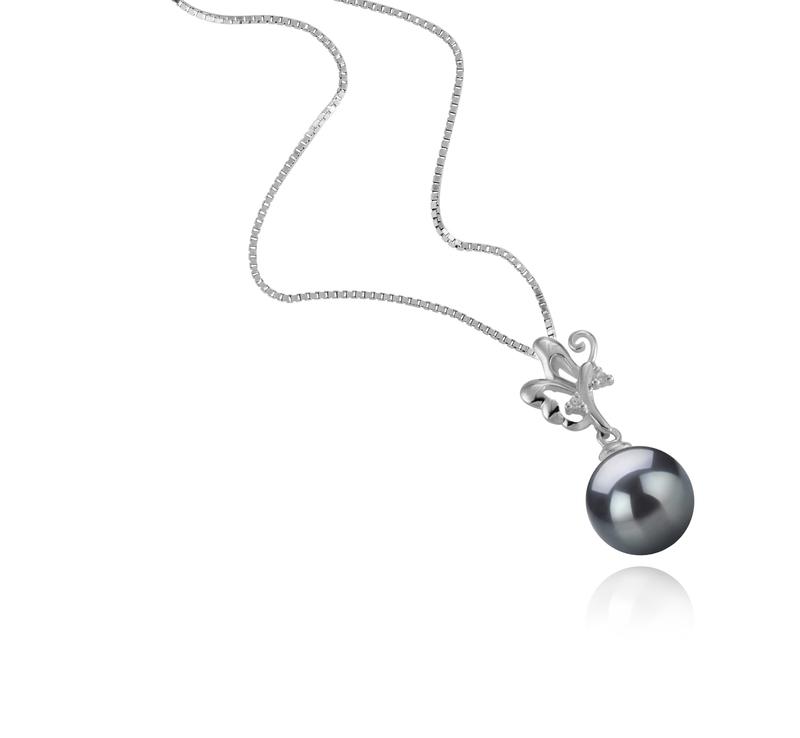 Anhänger mit schwarzen, 9-10mm großen Tihitianischen Perlen in AAA-Qualität , Braith