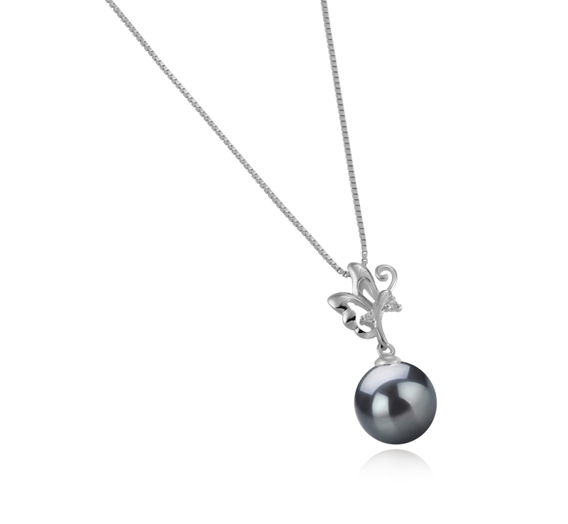 9-10mm AAA-Qualität Tahitisch Perlenanhänger in Braith Schwarz