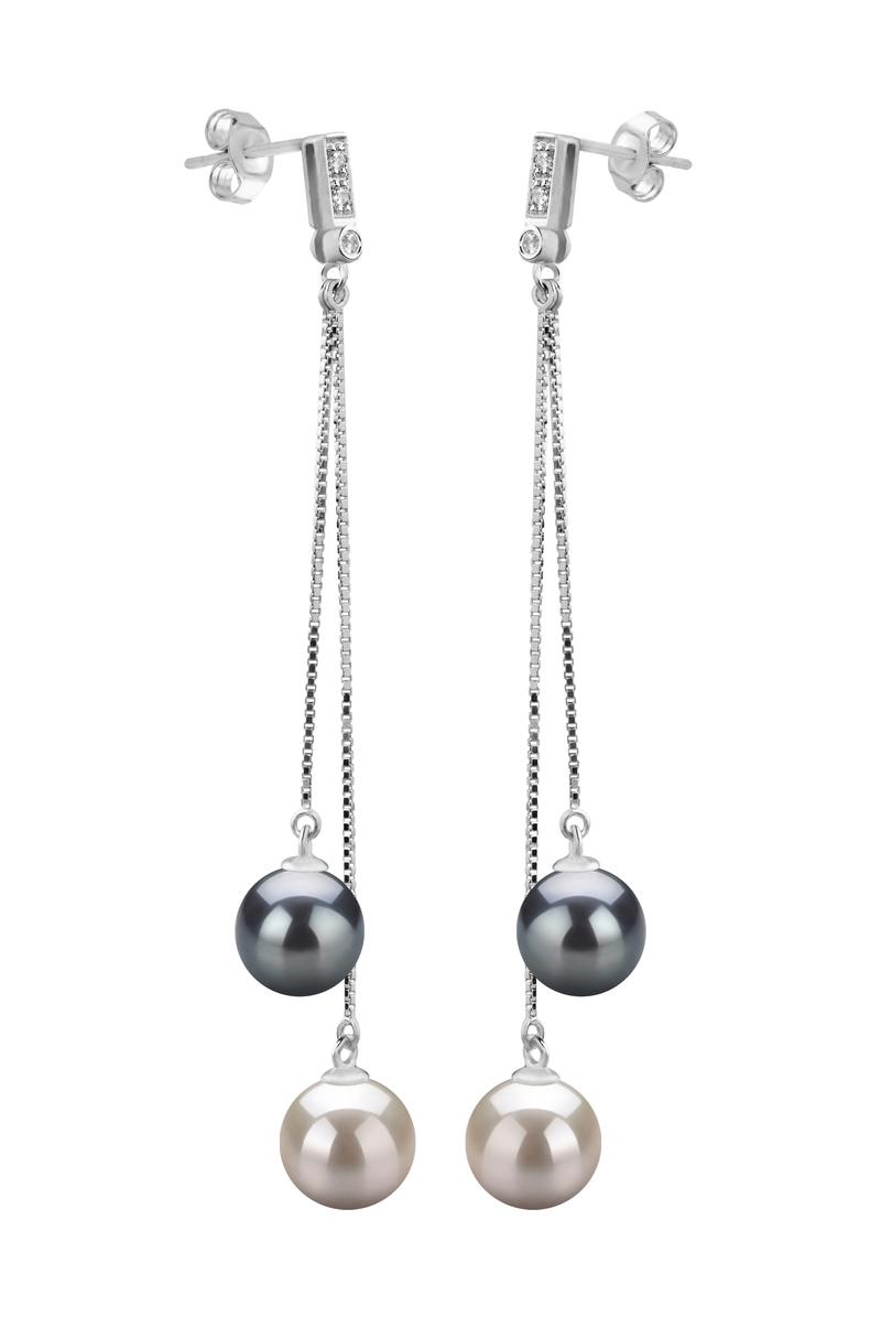 Paar Ohrringe mit schwarzen and weißen, 7-8mm großen Süßwasserperlen in AAAA-Qualität , Brenda
