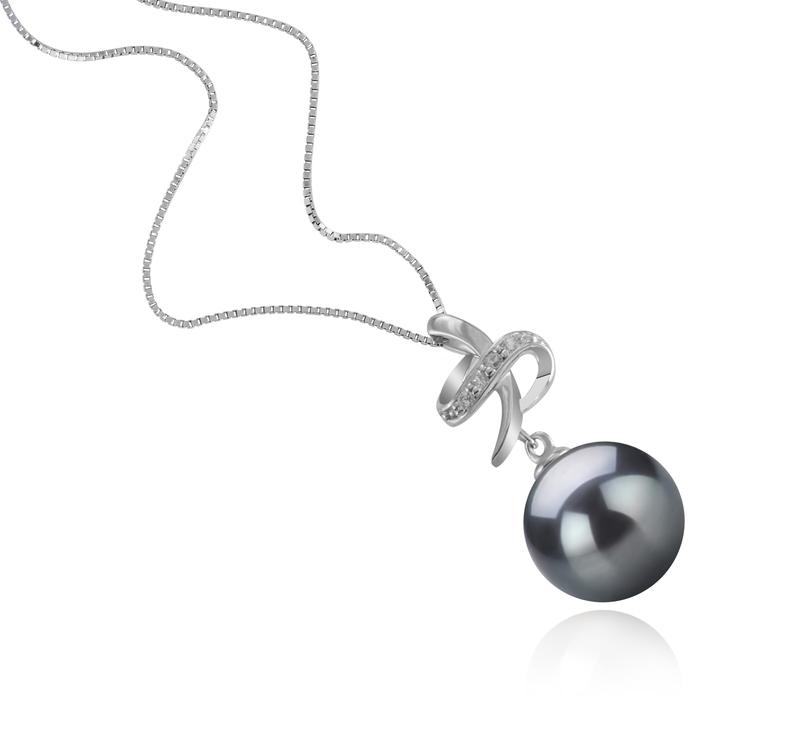 Anhänger mit schwarzen, 10-11mm großen Tihitianischen Perlen in AAA-Qualität , Bridget
