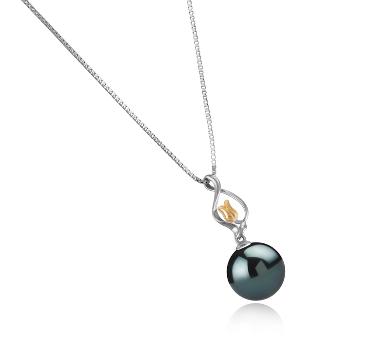 Anhänger mit schwarzen, 11-12mm großen Tihitianischen Perlen in AAA-Qualität , Caresse