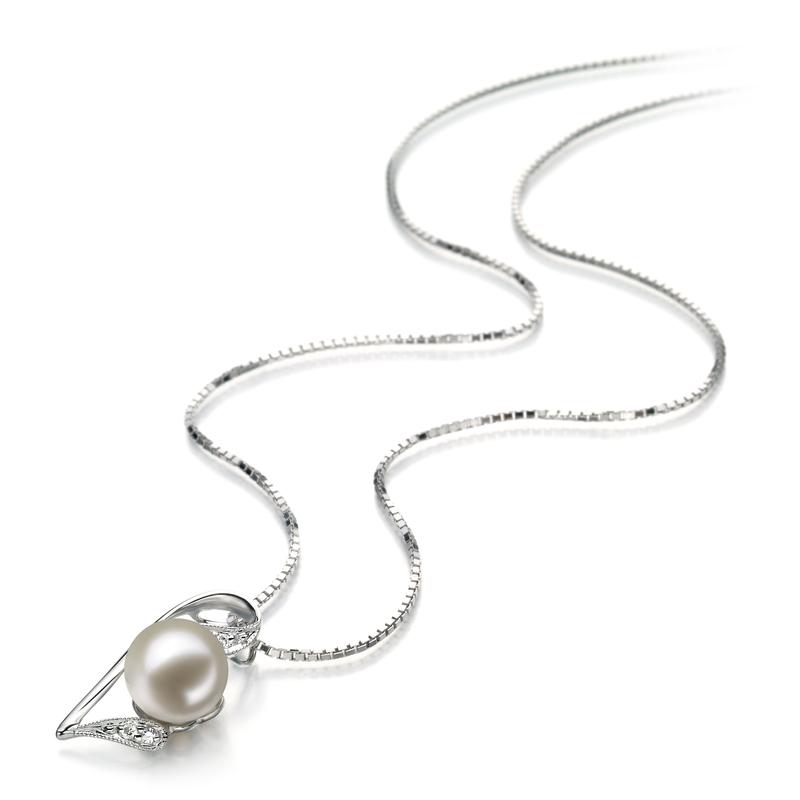 7-8mm AAAA-Qualität Süßwasser Perlenanhänger in Carlin Weiß
