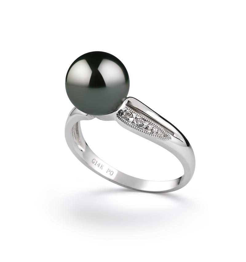 Ring mit schwarzen, 8-9mm großen Tihitianischen Perlen in AAA-Qualität , Caroline