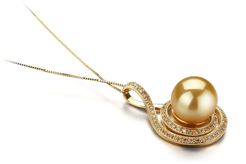 12-13mm AAA-Qualität Südsee Perlenanhänger in Catalina Gold
