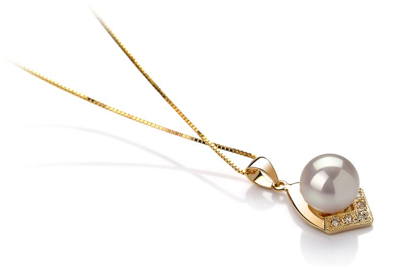 Anhänger mit weißen, 7-8mm großen Janischen Akoya Perlen in AAA-Qualität , Catrina