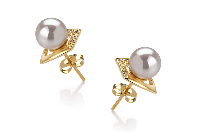 Paar Ohrringe mit weißen, 7-8mm großen Janischen Akoya Perlen in AAA-Qualität , Catrina