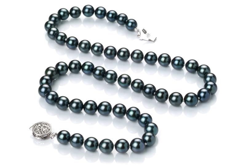 Halskette mit schwarzen, 6.5-7mm großen Janischen Akoya Perlen in AAA-Qualität , Chantal