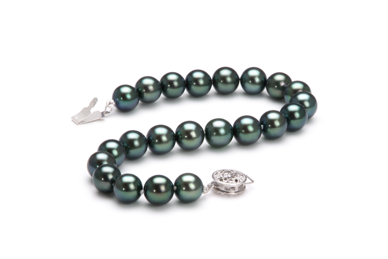Armreifen mit schwarzen, 7.5-8mm großen Janischen Akoya Perlen in AAA-Qualität , Charlotte