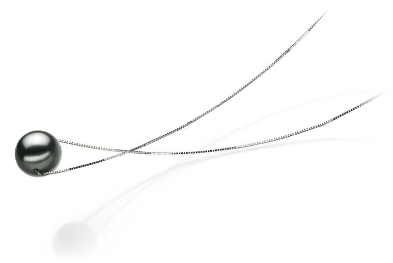 Anhänger mit schwarzen, 10-11mm großen Tihitianischen Perlen in AA-Qualität , Christina