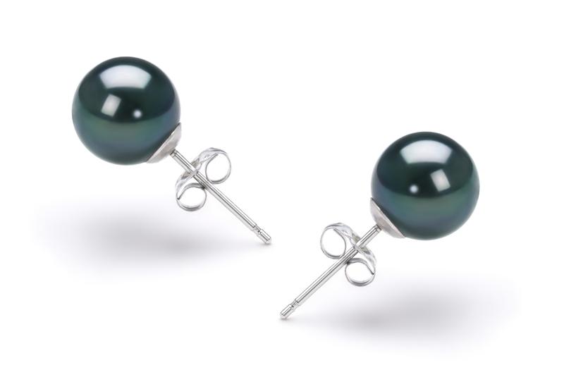 Paar Ohrringe mit schwarzen, 7.5-8mm großen Janischen Akoya Perlen in AAA-Qualität , Cindy