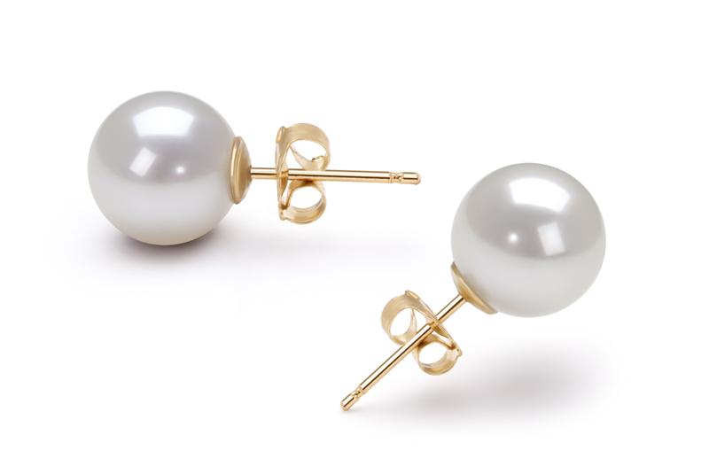 Paar Ohrringe mit weißen, 8-9mm großen Janischen Akoya Perlen in AA-Qualität , Clara