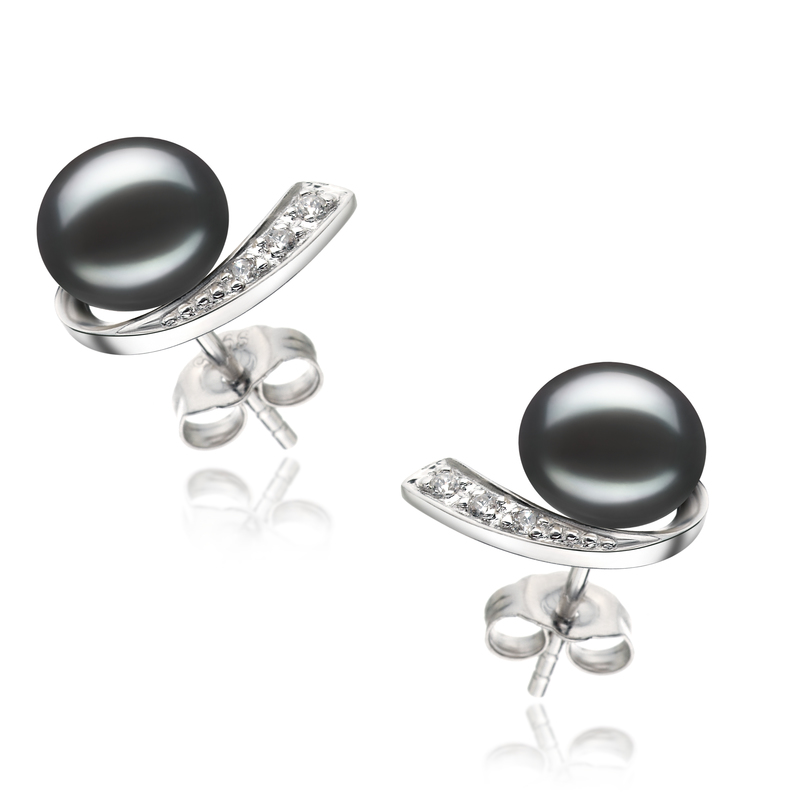 PearlsOnly - Paar Ohrringe mit schwarzen, 7-8mm großen Süßwasserperlen in AA-Qualität , Claudia