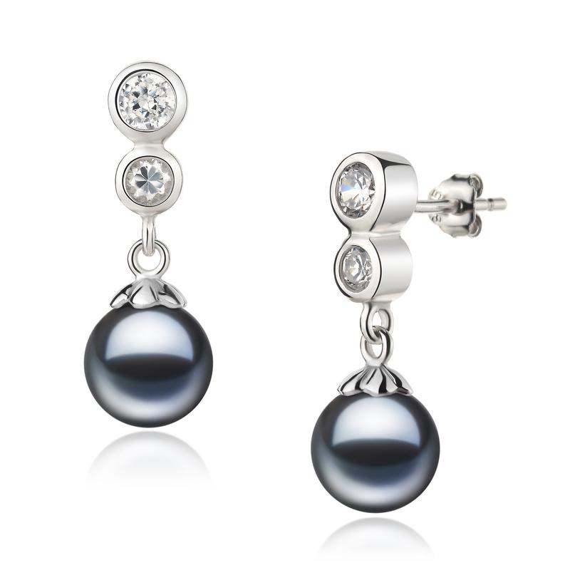 Paar Ohrringe mit schwarzen, 7-8mm großen Süßwasserperlen in AAAA-Qualität , Colleen