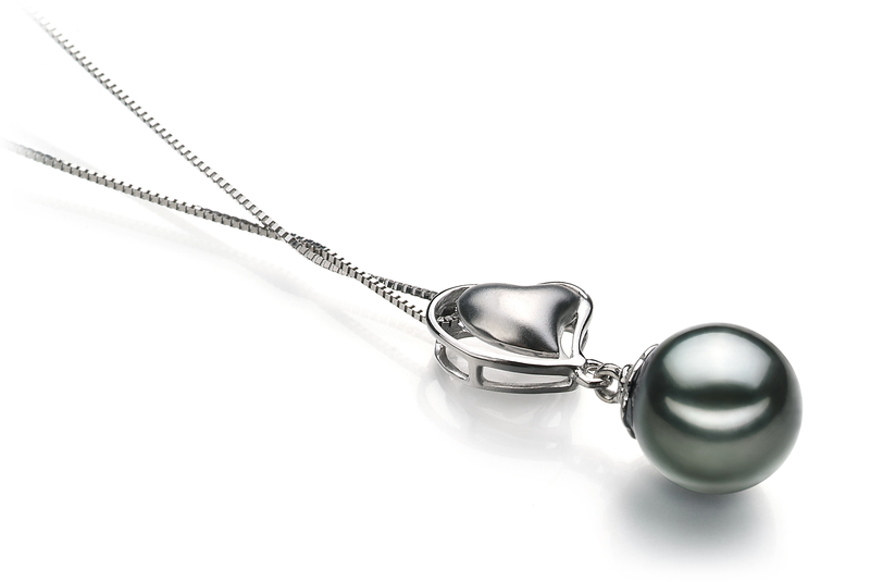 PearlsOnly - Anhänger mit schwarzen, 8-9mm großen Tihitianischen Perlen in AAA-Qualität , Cora
